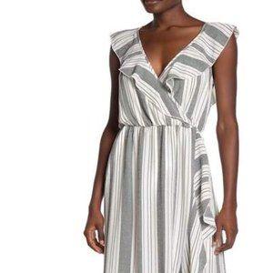 NWT MAX & ASH Stripe Ruffle Maxi Dress WHITE BLACK
